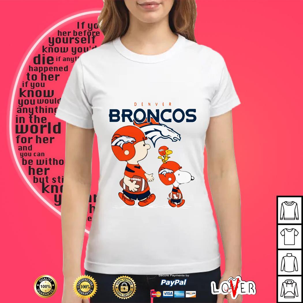 Snoopy and woodstock Denver Broncos Ladies tee