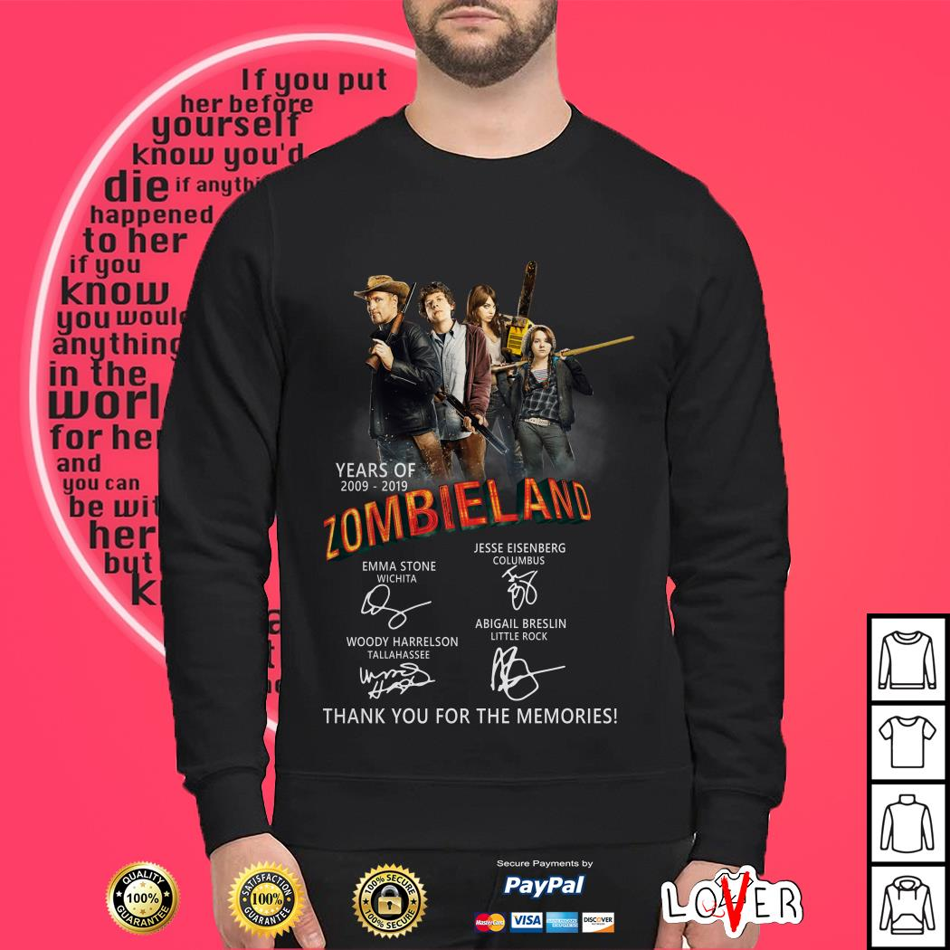 Years of 2009 – 2019 Zombieland thank you for the memories shirt