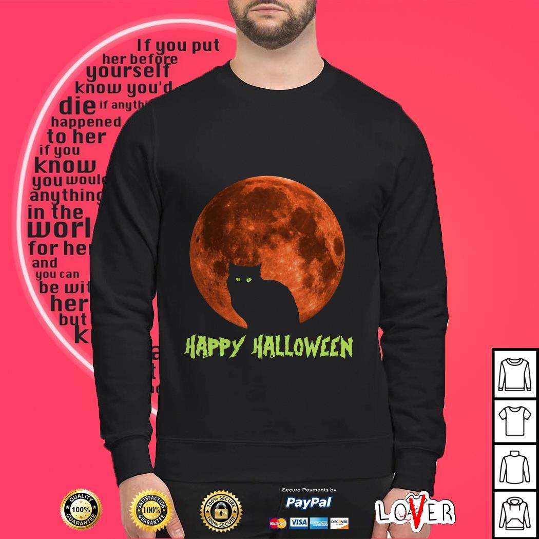 Official Cat in moon happy halloween shirt
