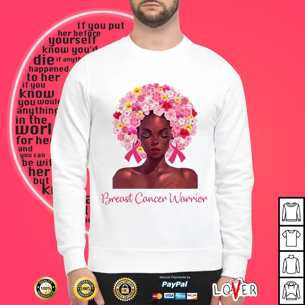Breast Cancer Warrior black women floral hair shirt