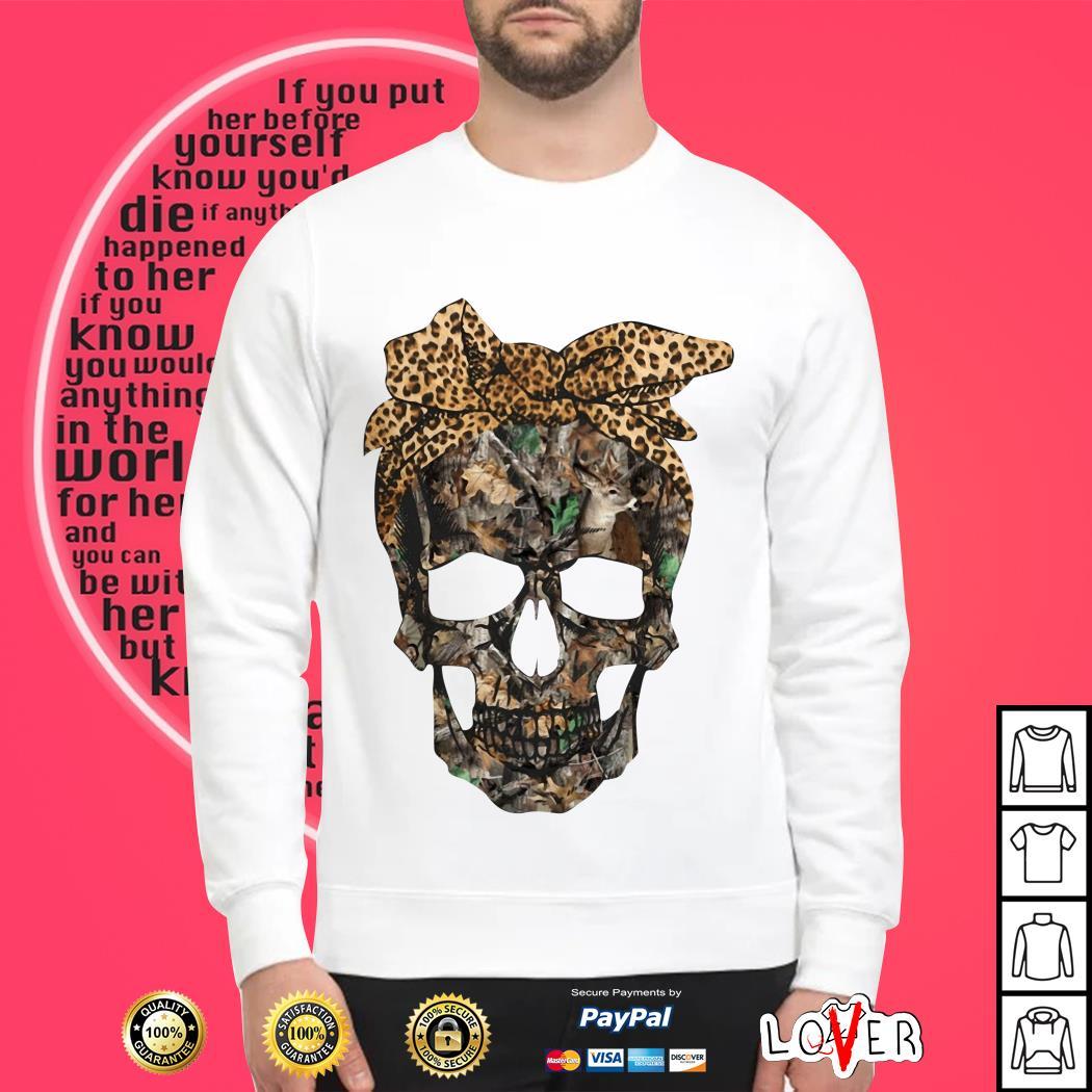 Deer hunting camouflage skull with leopard bandana shirt