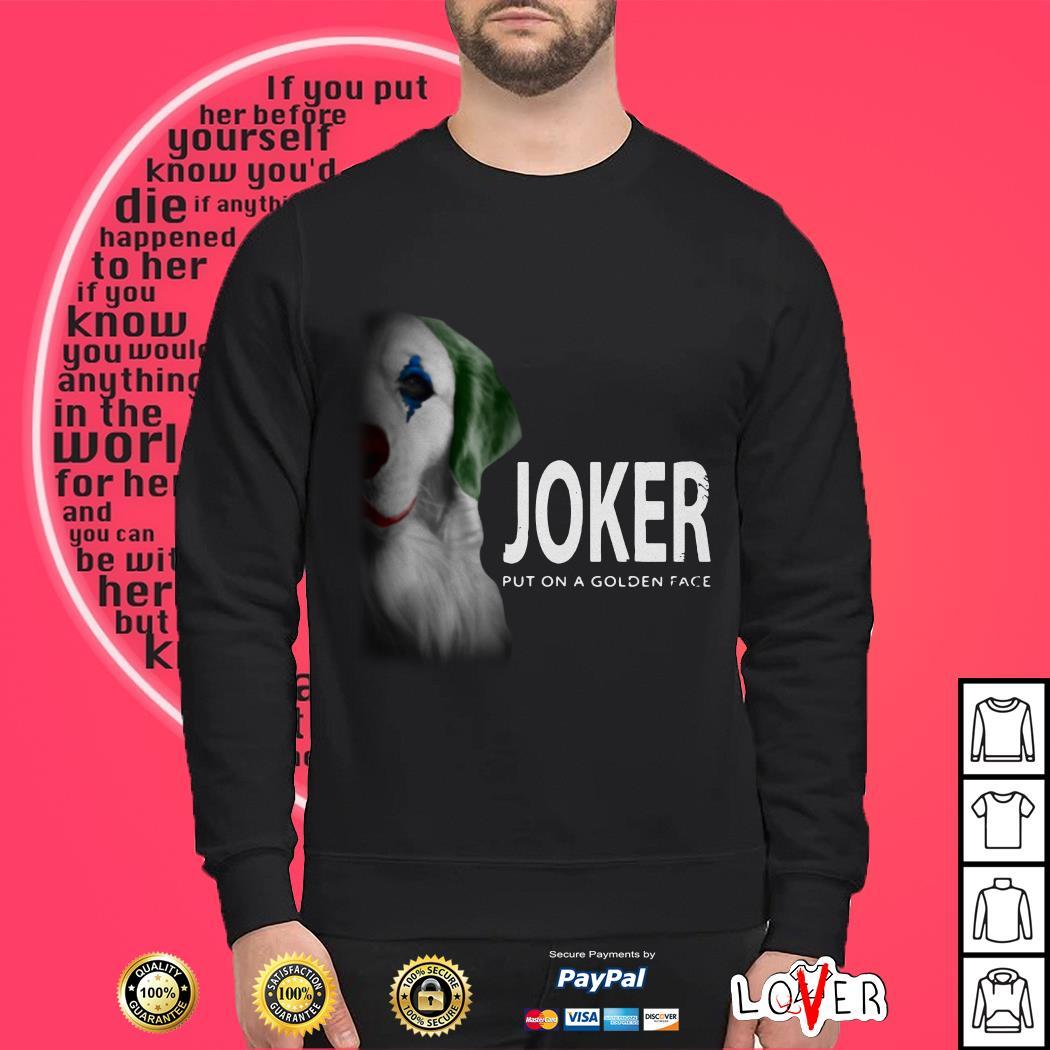Retriever Joker put on a golden face shirt