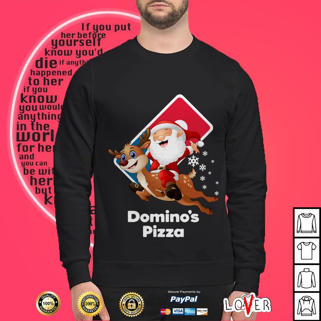 Satan Claus riding reindeer Domino's Pizza shirt
