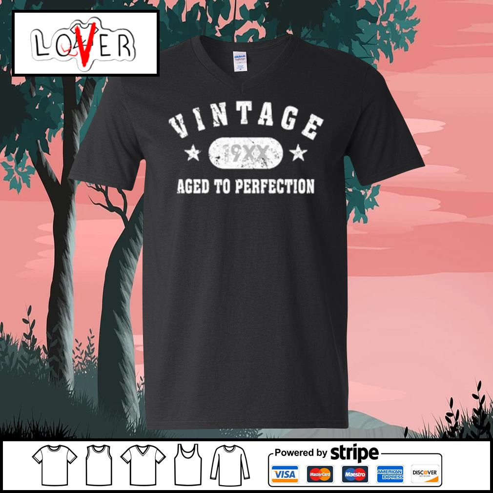 Black Vintage 19XX aged to perfection s V-neck t-shirt