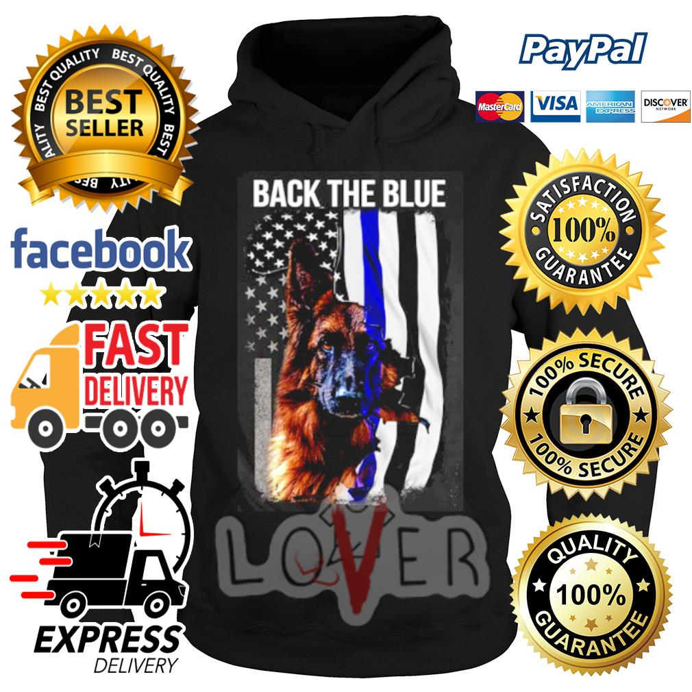 German Shepherd American flag back the blue s Hoodie