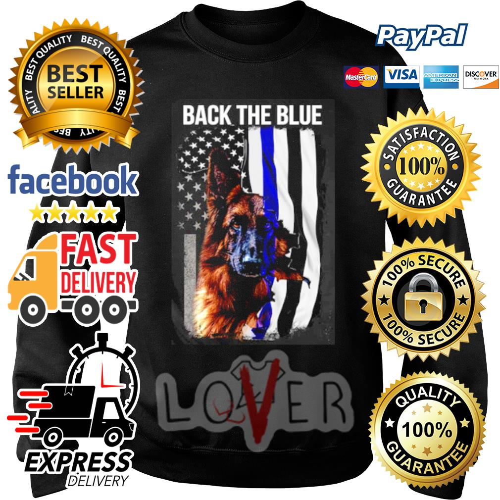 German Shepherd American flag back the blue s Sweater