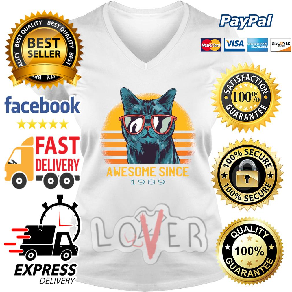 Vintage cats awesome since 1989 s V-neck t-shirt