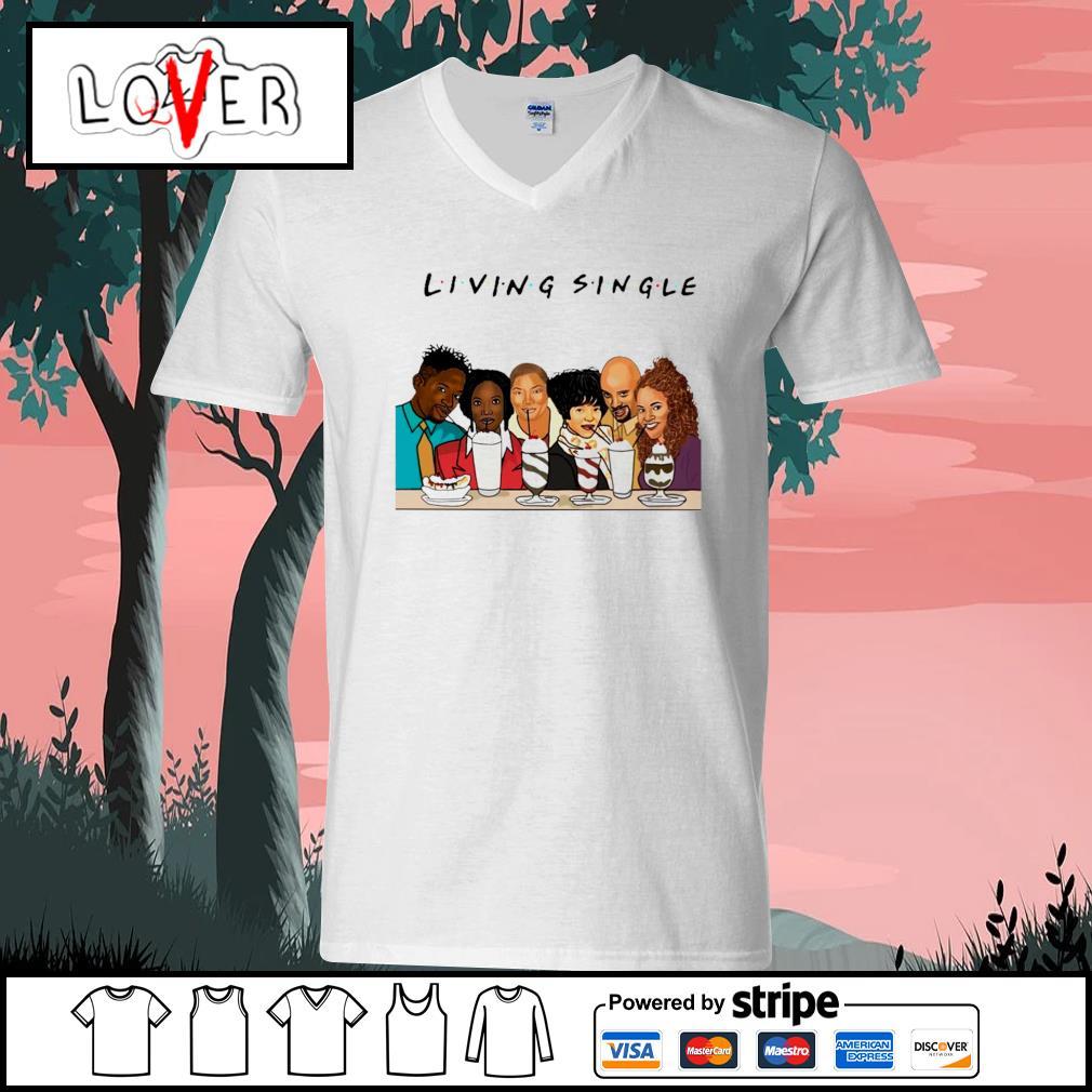 Black people living single s V-neck-T-shirt