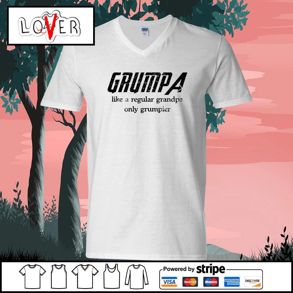 Grumpa like a regular grandpa only grumpier s V-neck-T-shirt