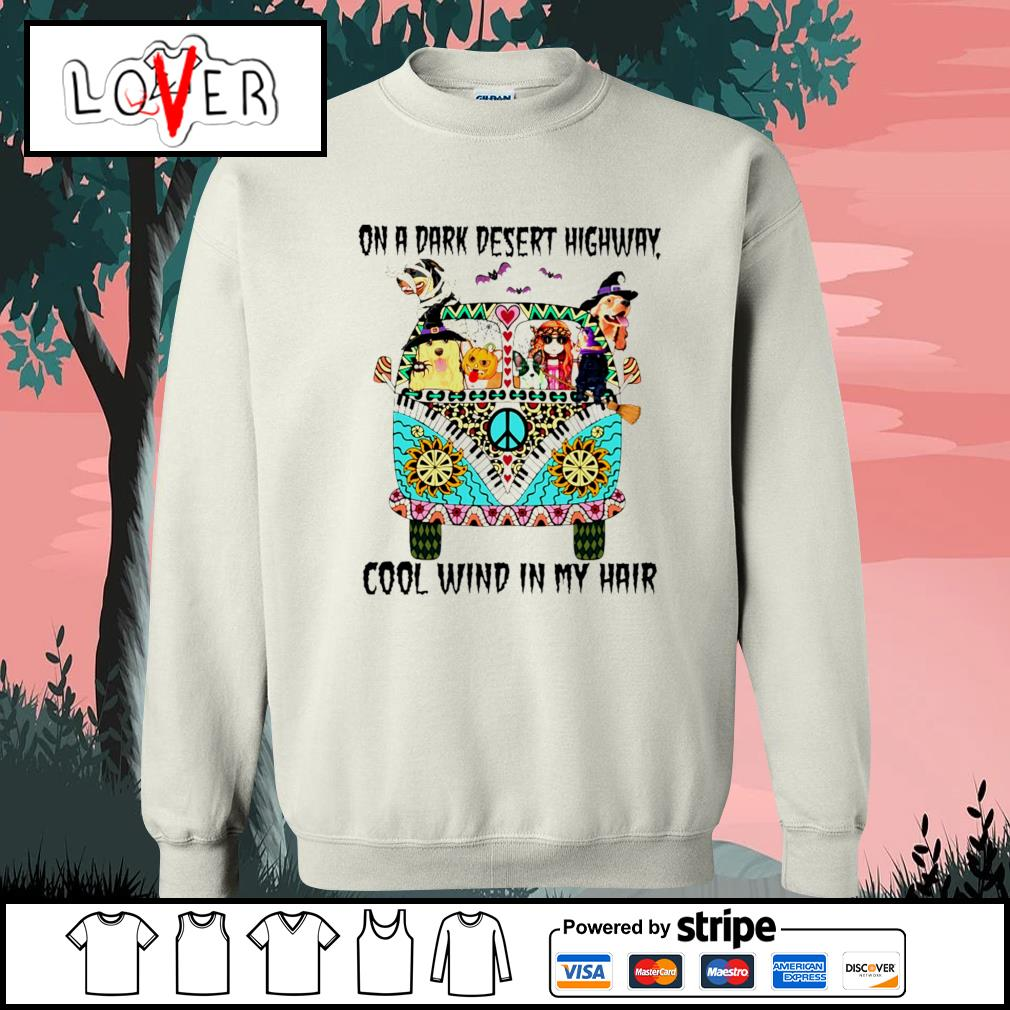 Hippie Girl and Dogs on a dark desert highway cool wind in my hair Halloween s Sweater