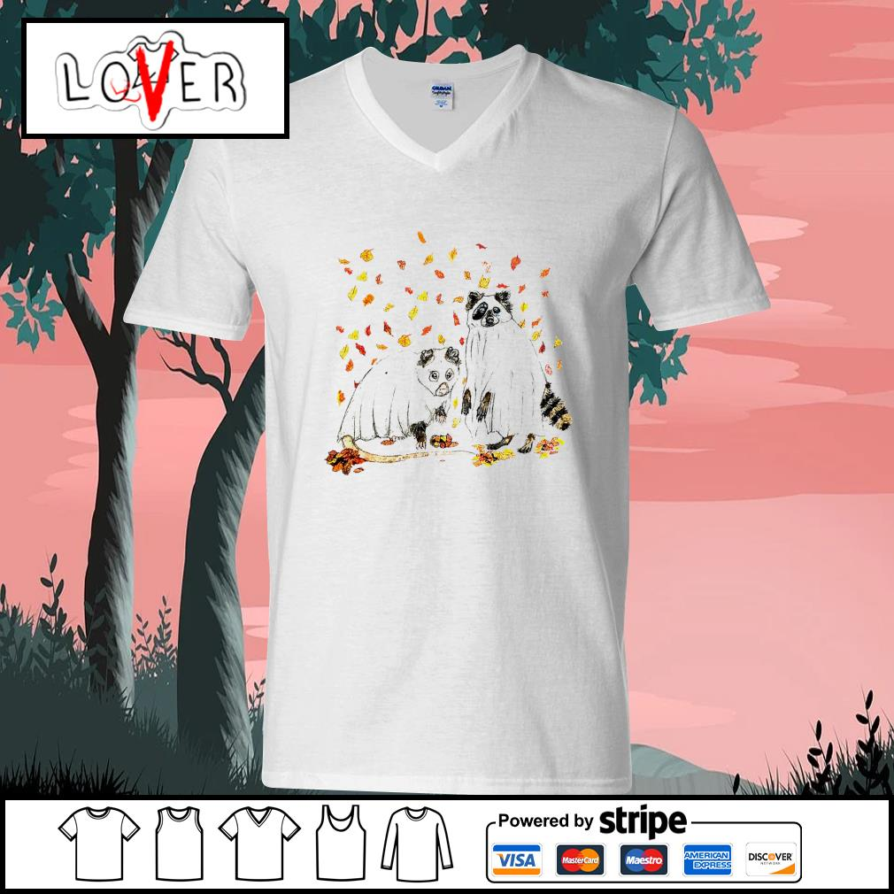 Raccoon Ghost Halloween s V-neck-T-shirt