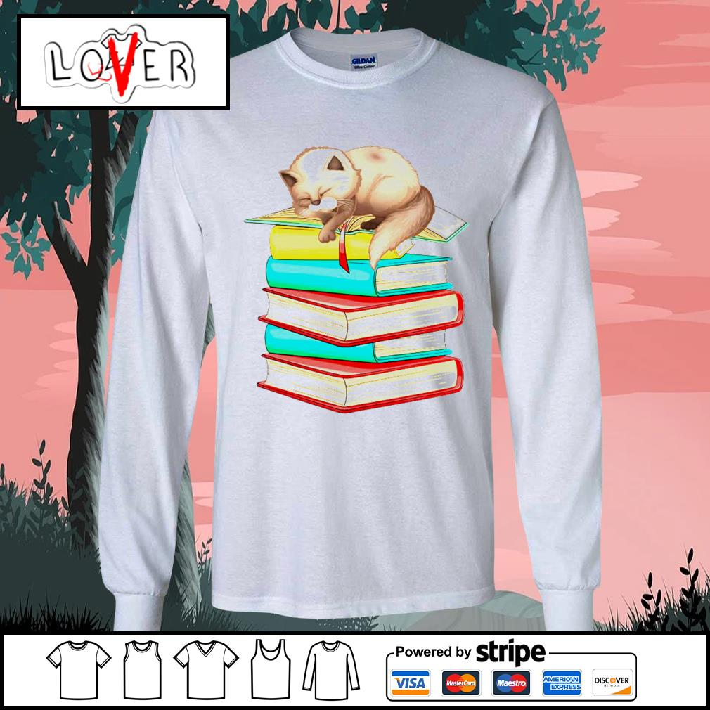 Cats sleep with books s Long-Sleeves-Tee