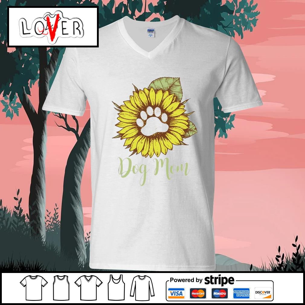 Sunflower paw dog mom s V-neck-T-shirt
