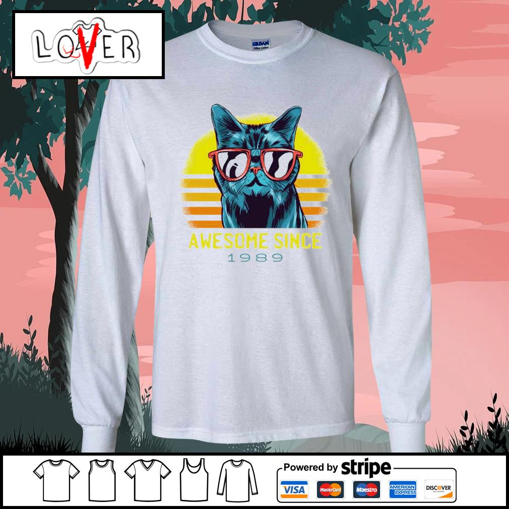 Vintage cats awesome since 1989 s Long-Sleeves-Tee