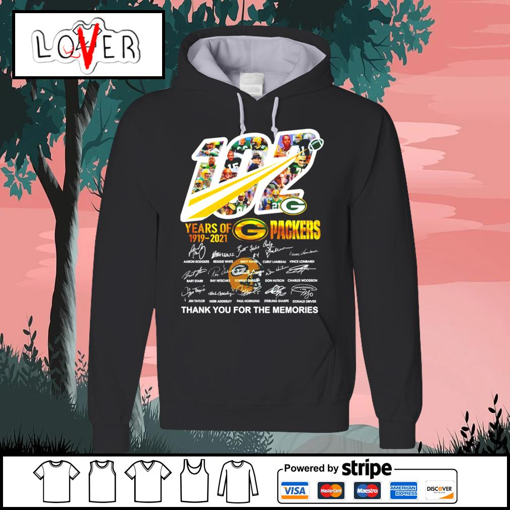 102 years of 1919 2021 Green Bay Packers thank you for the memories signatures s Hoodie