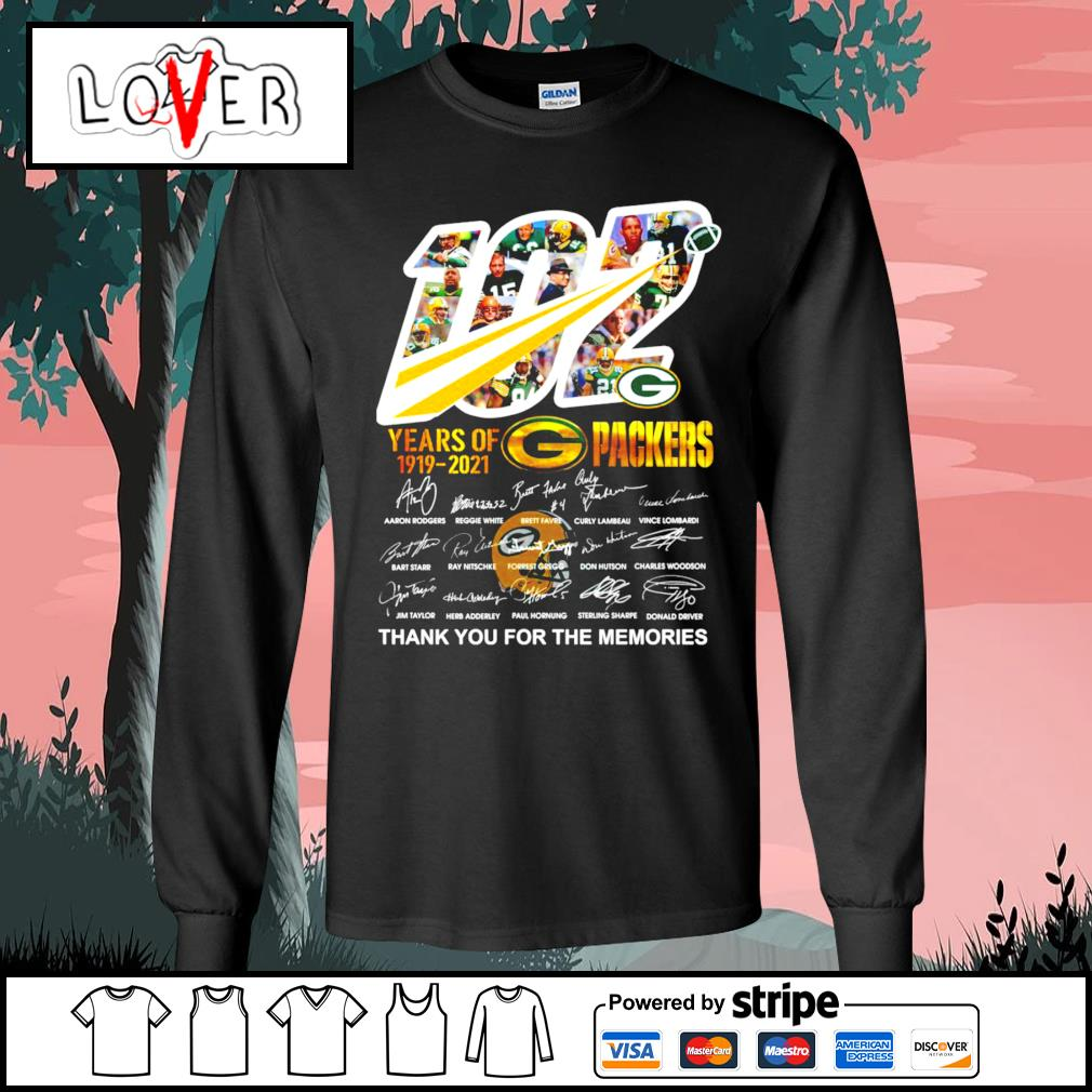 102 years of 1919 2021 Green Bay Packers thank you for the memories signatures s Long-Sleeves-Tee