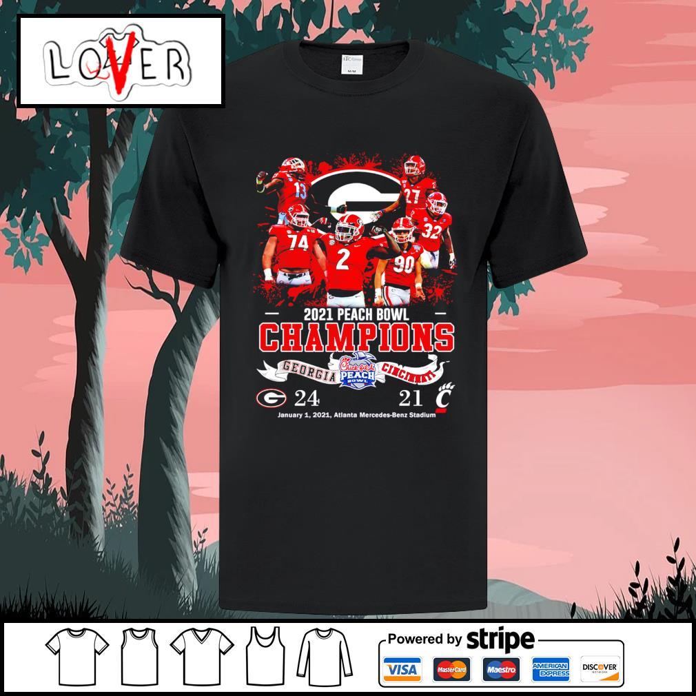 2020 peach bowl champions 24 Georgia Bulldogs vs 21 Cincinnati Bearcats shirt