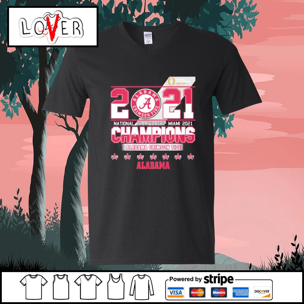 2021 national championship Miami 2021 champions Alabama Crimson Tide s V-neck-T-shirt