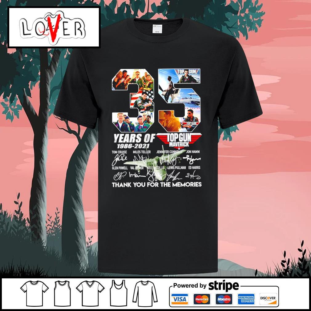 34 years of 1986 2021 Top Gun Maverick thank you for the memories signatures shirt