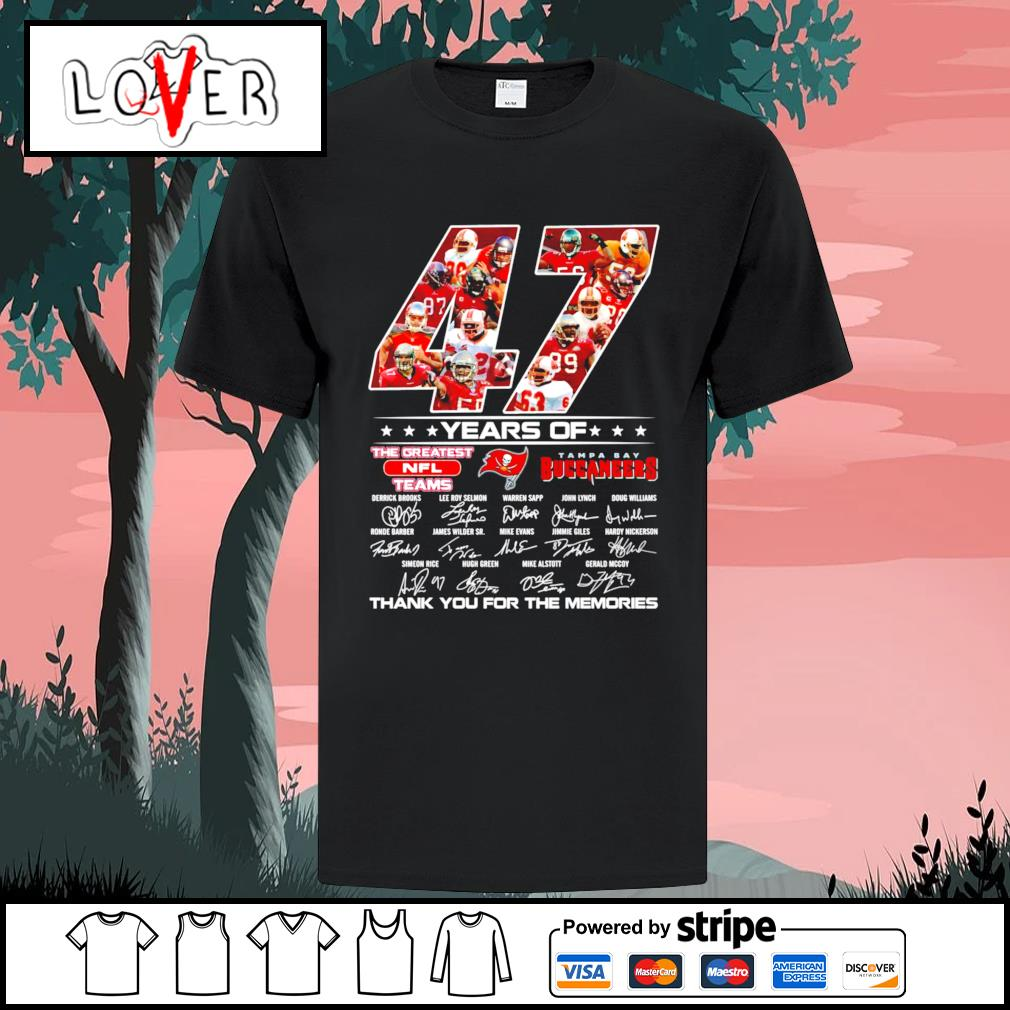 47 years of the greatest NFL teams Tampa Bay Buccaneers signatures shirt