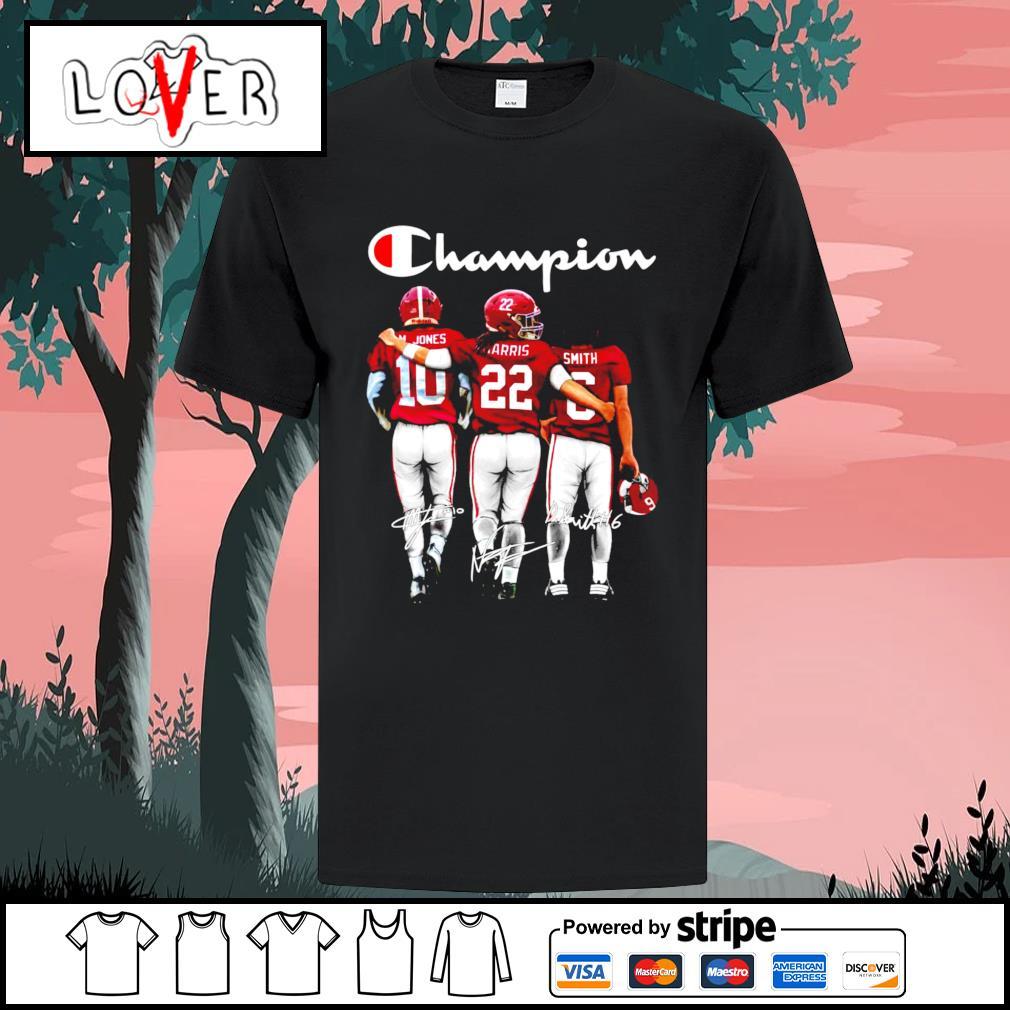 Alabama Crimson Tide Mac Jones Najee Harris and Devonta Smith Champions signatures shirt
