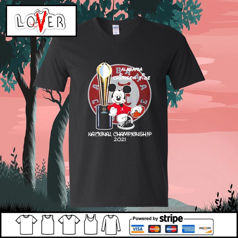 Alabama Crimson Tide Mickey Mouse NCAA national championship 2021 s V-neck-T-shirt