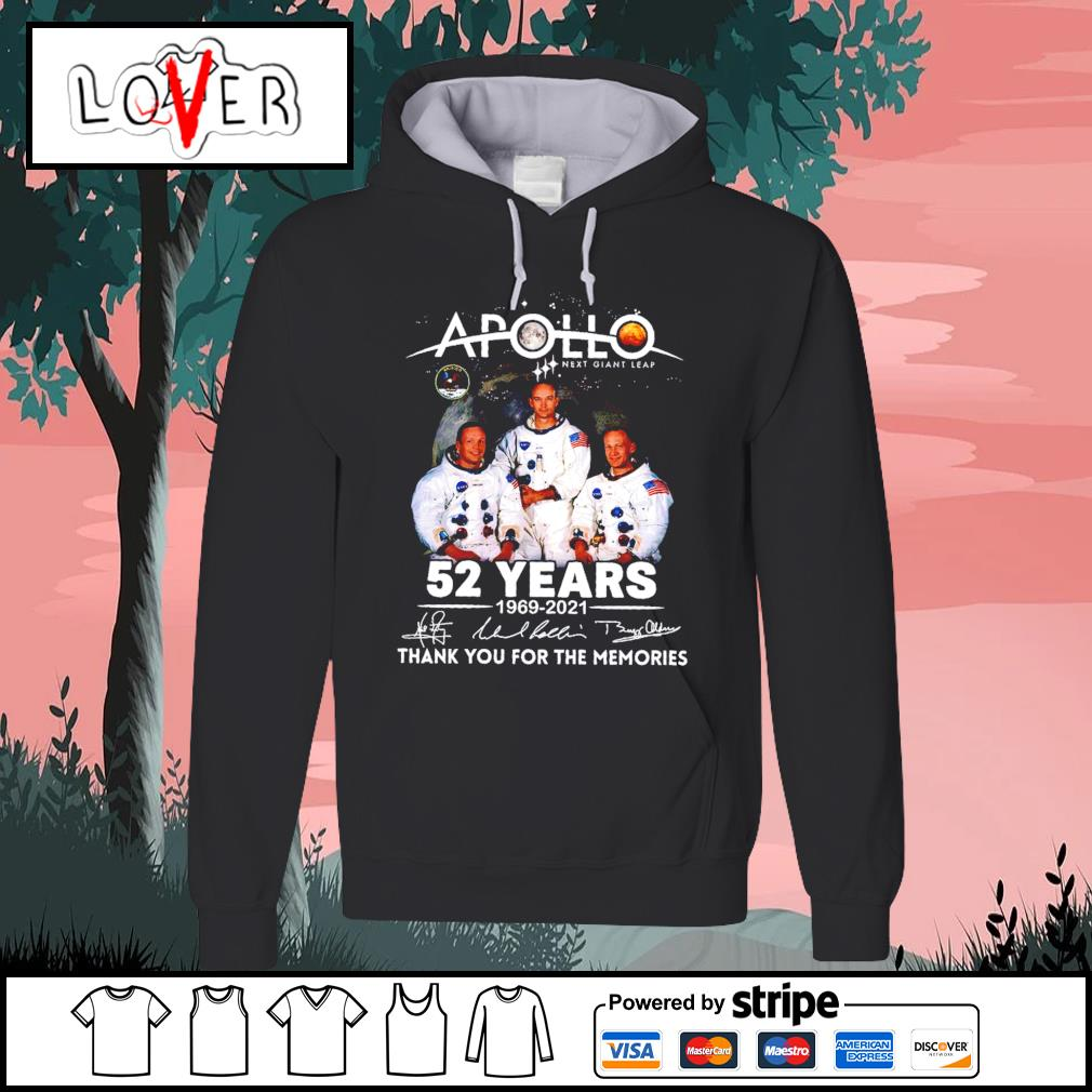 Apollo next giant leap 52 years 1969 2021 thank you for the memories signatures s Hoodie