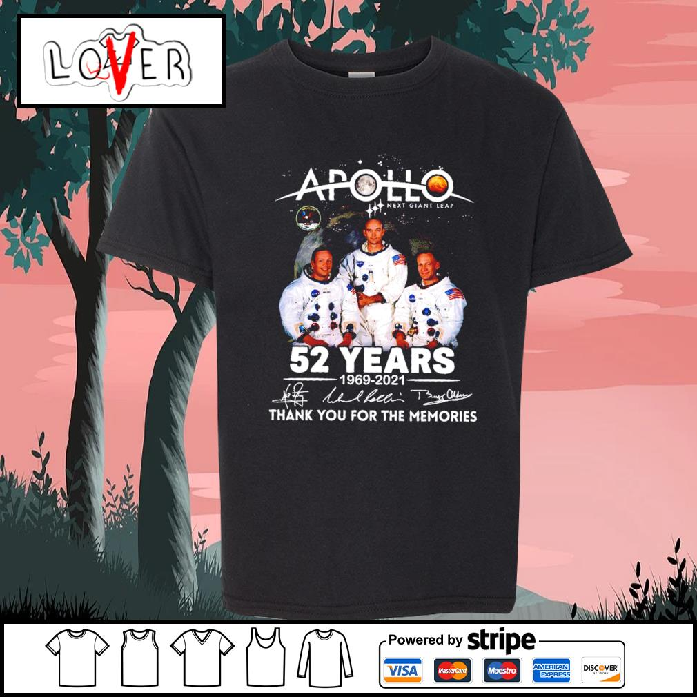 Apollo next giant leap 52 years 1969 2021 thank you for the memories signatures s Kid-T-shirt