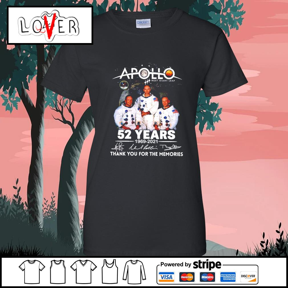 Apollo next giant leap 52 years 1969 2021 thank you for the memories signatures s Ladies-Tee