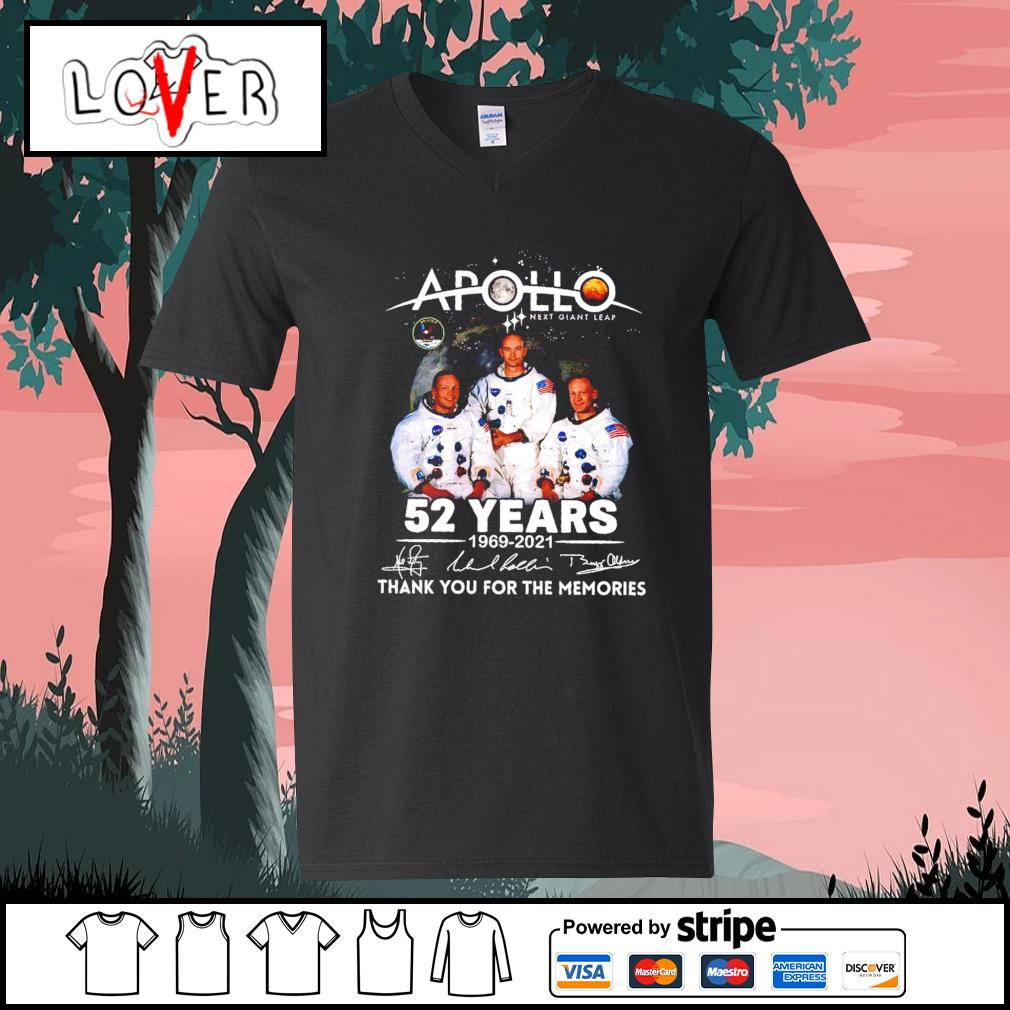 Apollo next giant leap 52 years 1969 2021 thank you for the memories signatures s V-neck-T-shirt