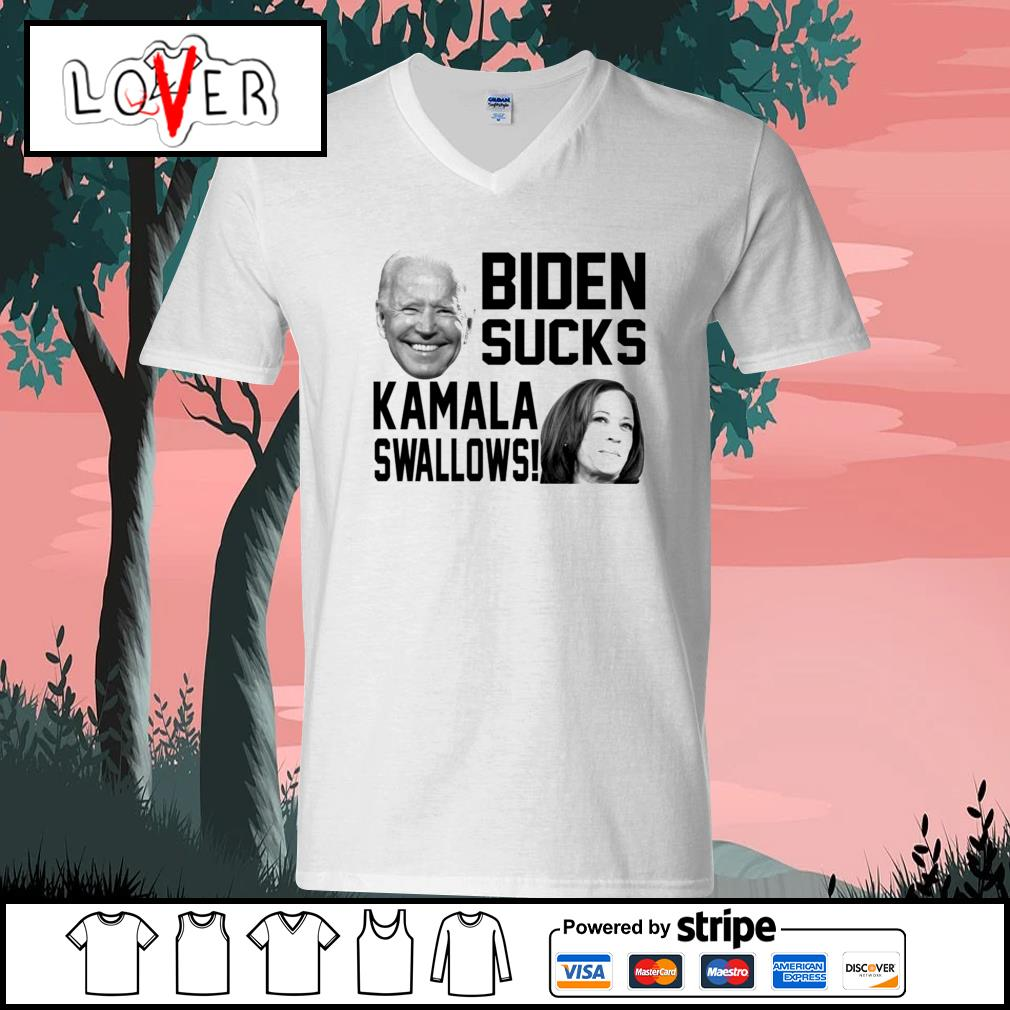 Biden sucks Kamala swallows s V-neck-T-shirt