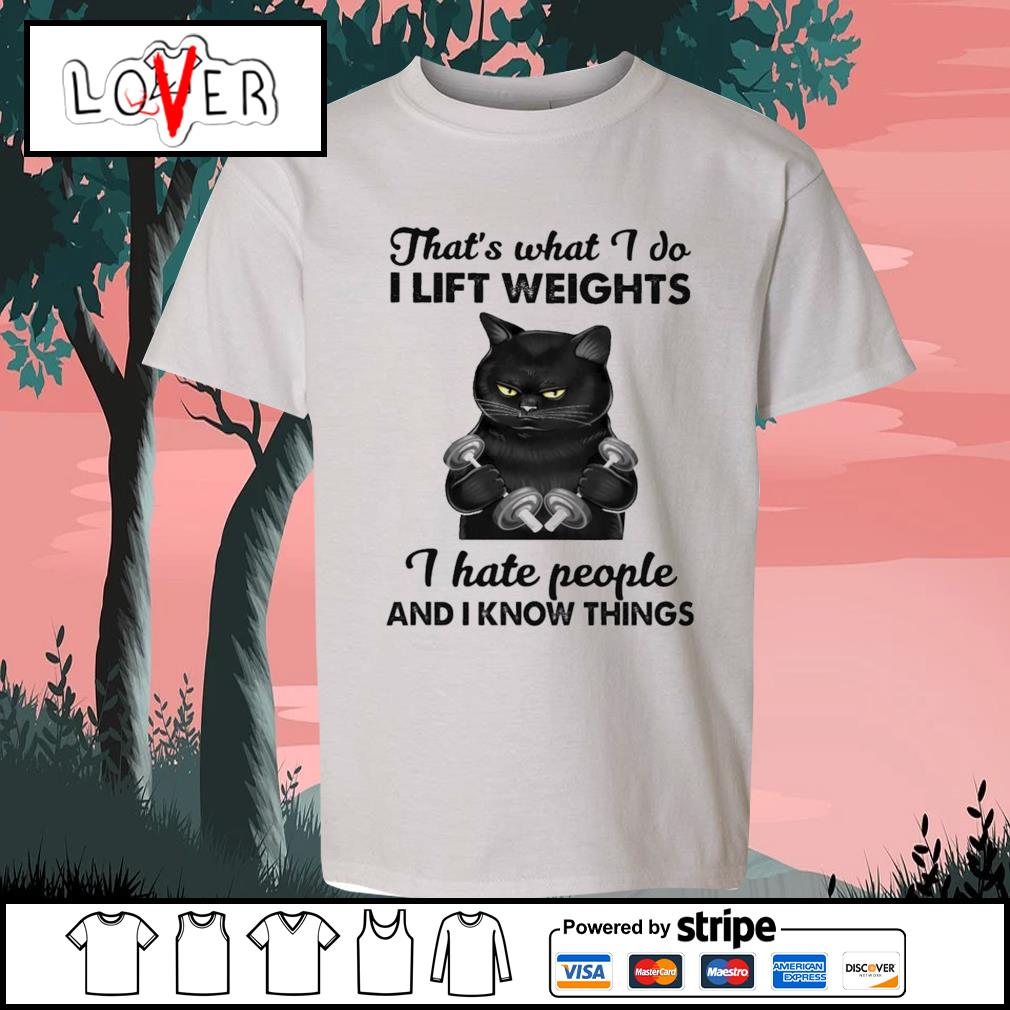 Black cat what I do I lift weights I hate people and I know things s Kid-T-shirt