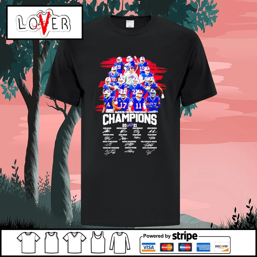Buffalo Bills 2021 American football conference champions signatures shirt