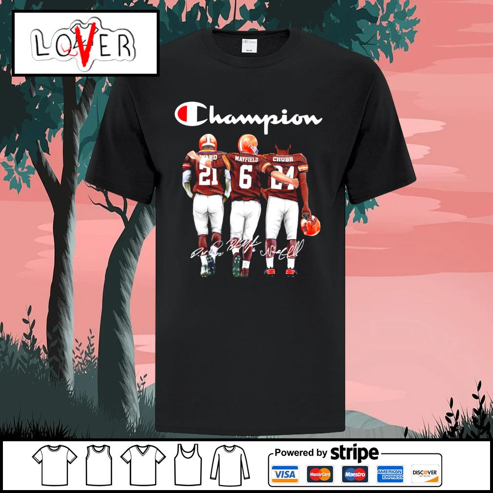 Cleveland Browns Denzel Ward Baker Mayfield and Nick Chubb champion signatures shirt