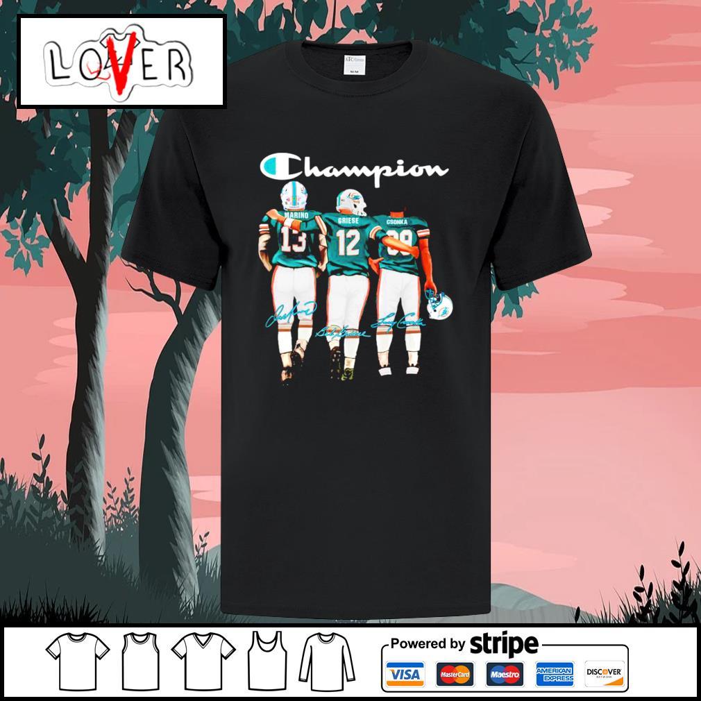 Dan Marino's Bob Griese and Larry Csonka Miami Dolphins Champion signatures shirt