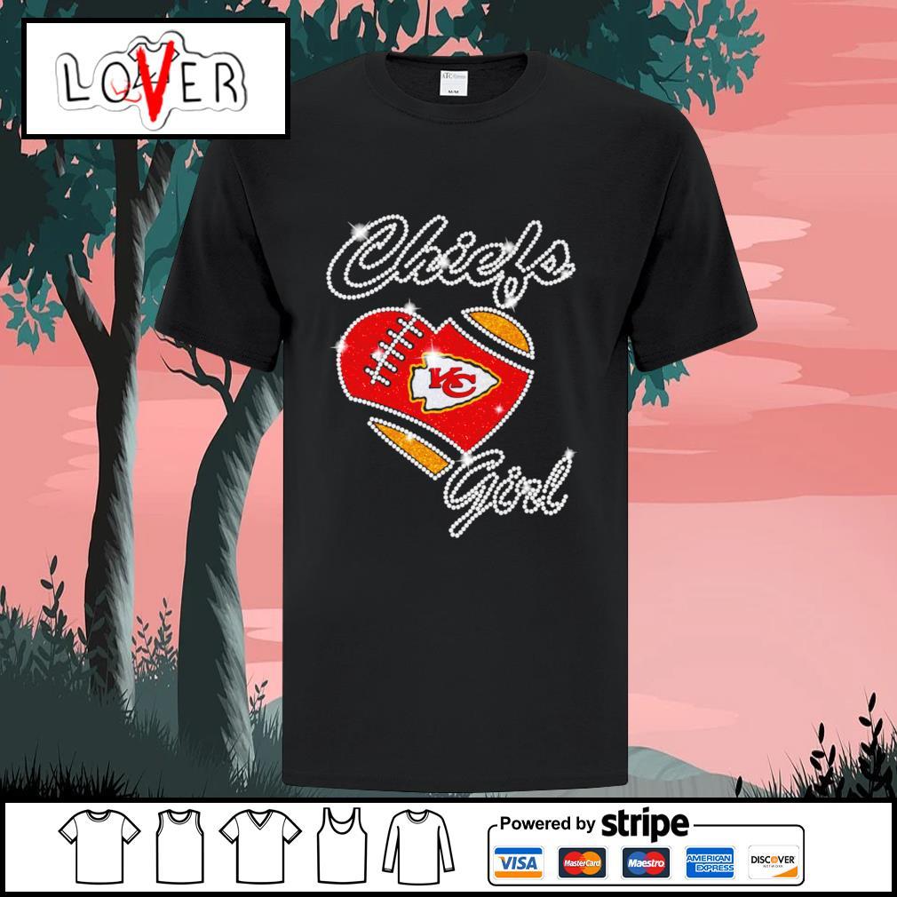 Diamond Heart love Kansas City Chiefs girls shirt