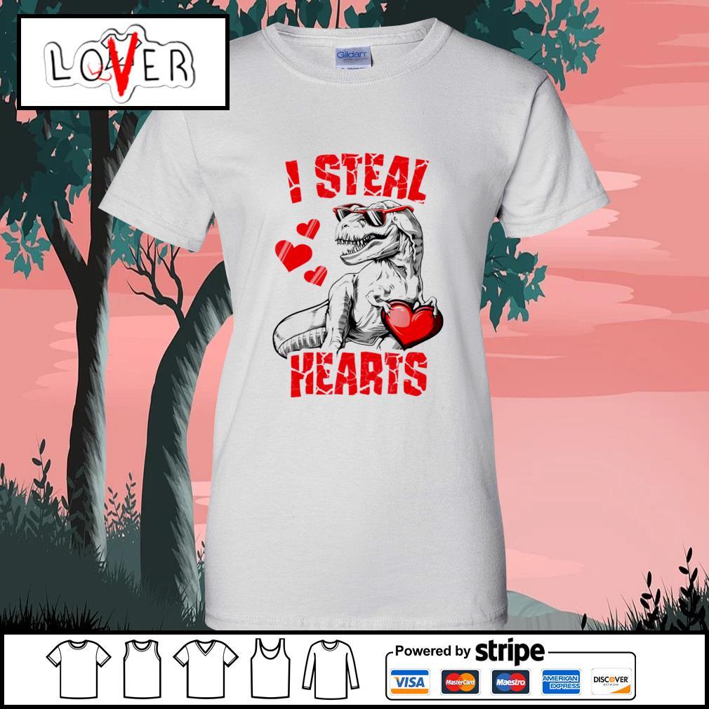 Dinosaur T rex lover I steal hearts valentine s Ladies-Tee