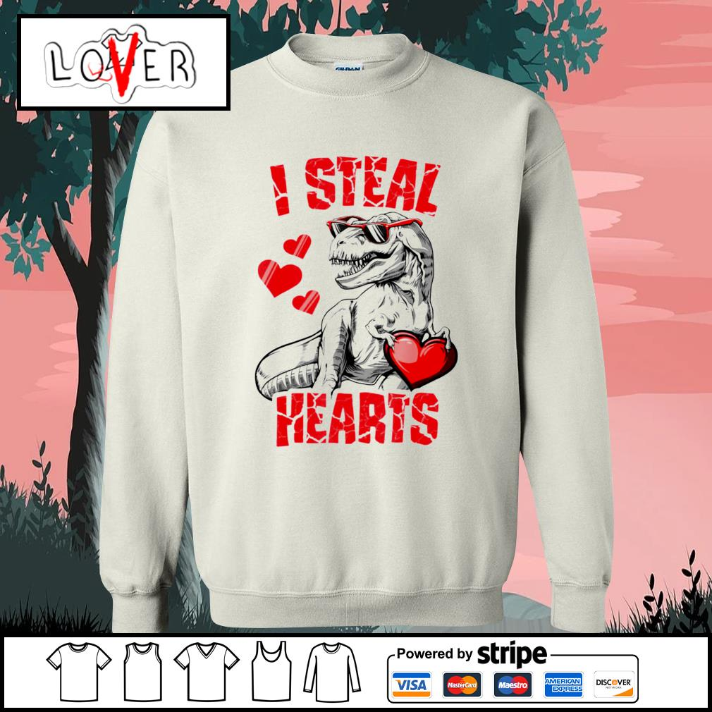 Dinosaur T rex lover I steal hearts valentine s Sweater