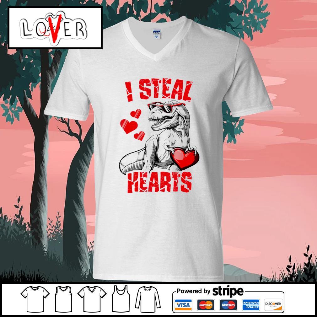 Dinosaur T rex lover I steal hearts valentine s V-neck-T-shirt