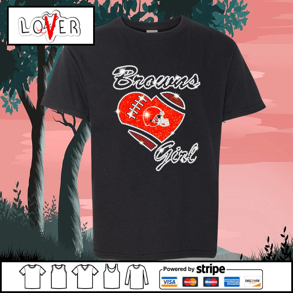 Heart love Diamond Cleveland Browns girl s Kid-T-shirt