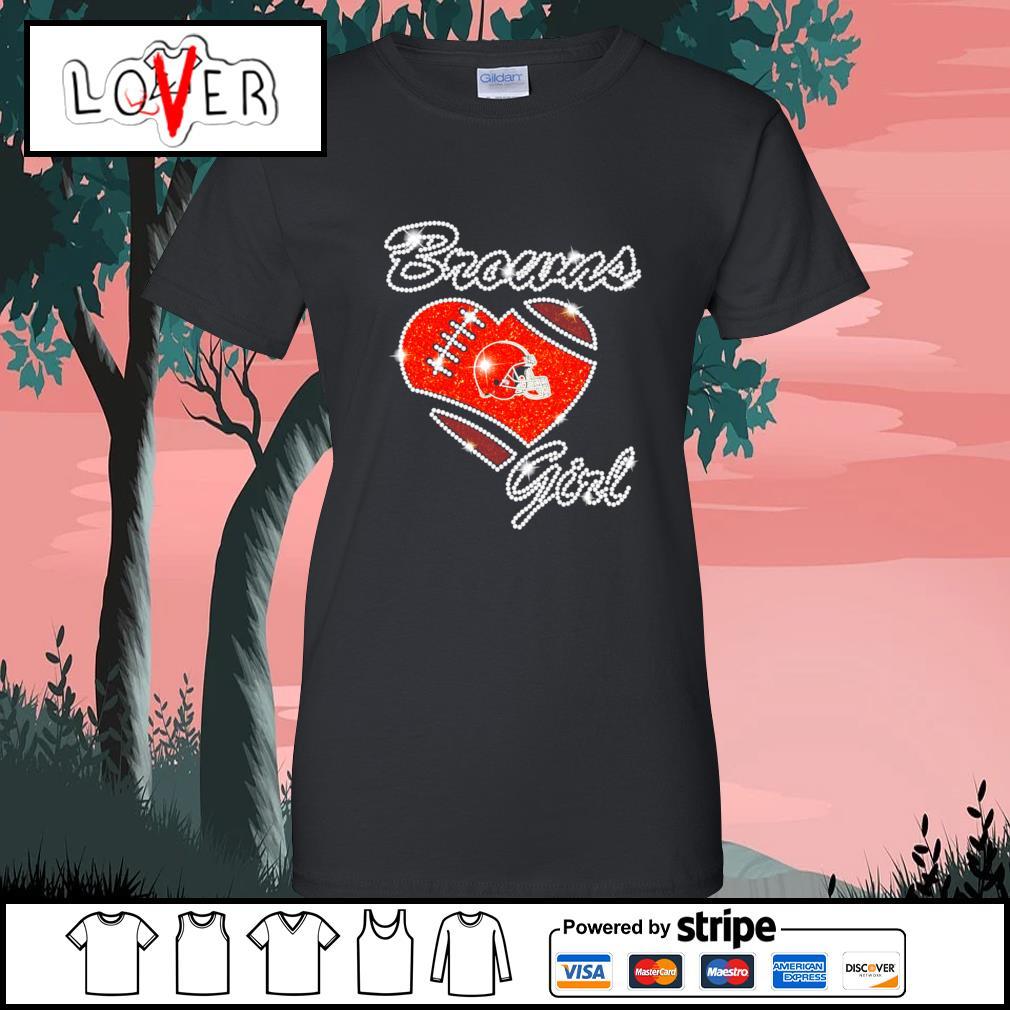 Heart love Diamond Cleveland Browns girl s Ladies-Tee
