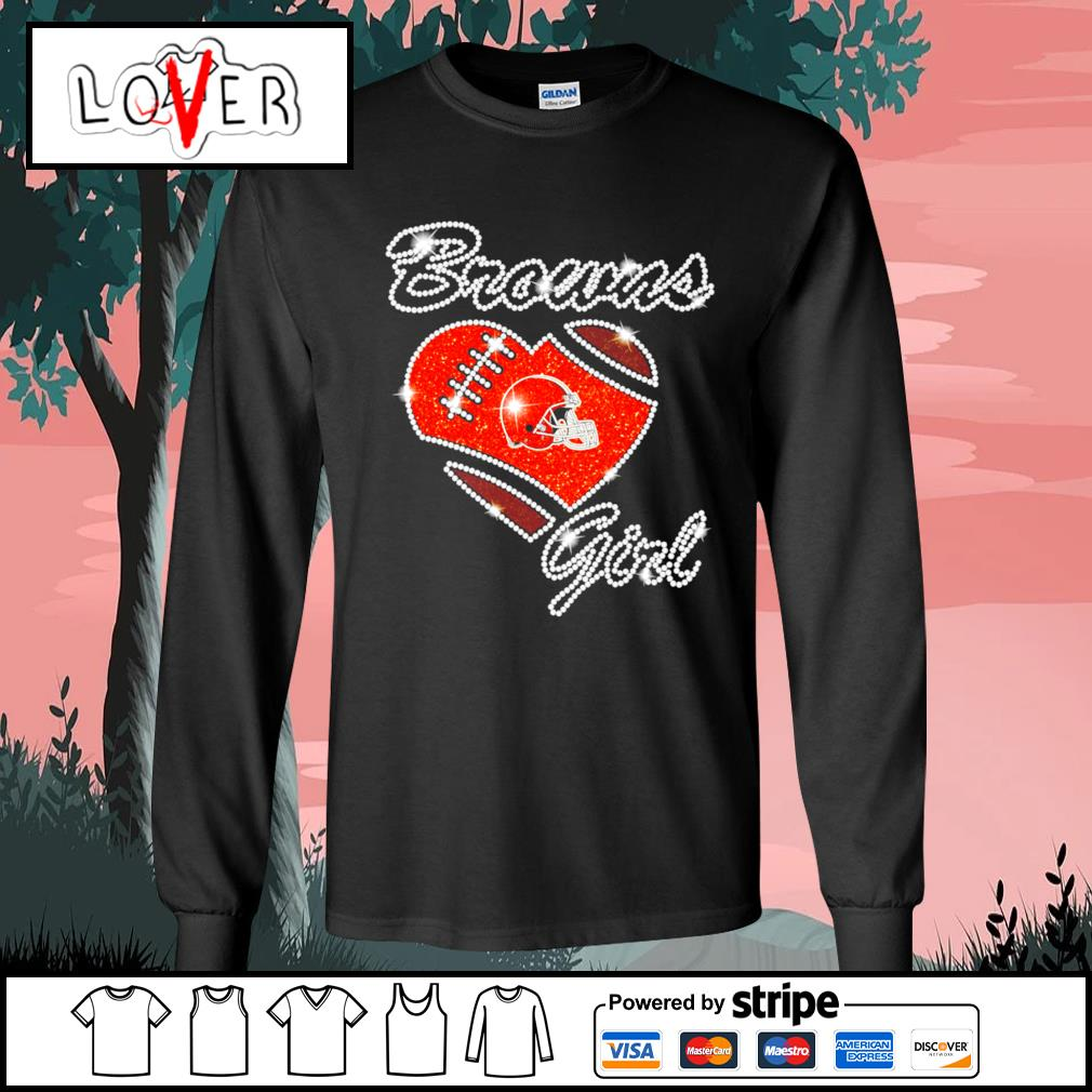 Heart love Diamond Cleveland Browns girl s Long-Sleeves-Tee