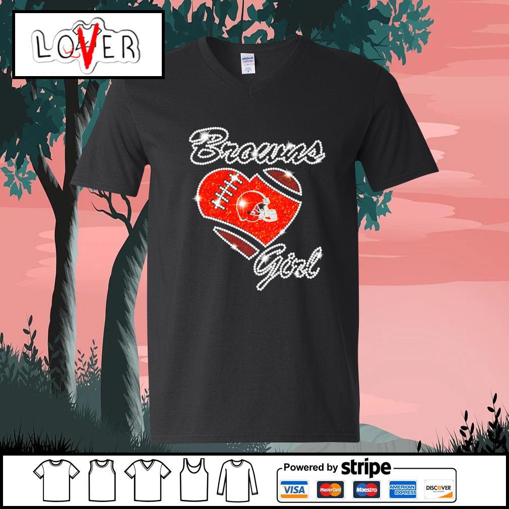 Heart love Diamond Cleveland Browns girl s V-neck-T-shirt