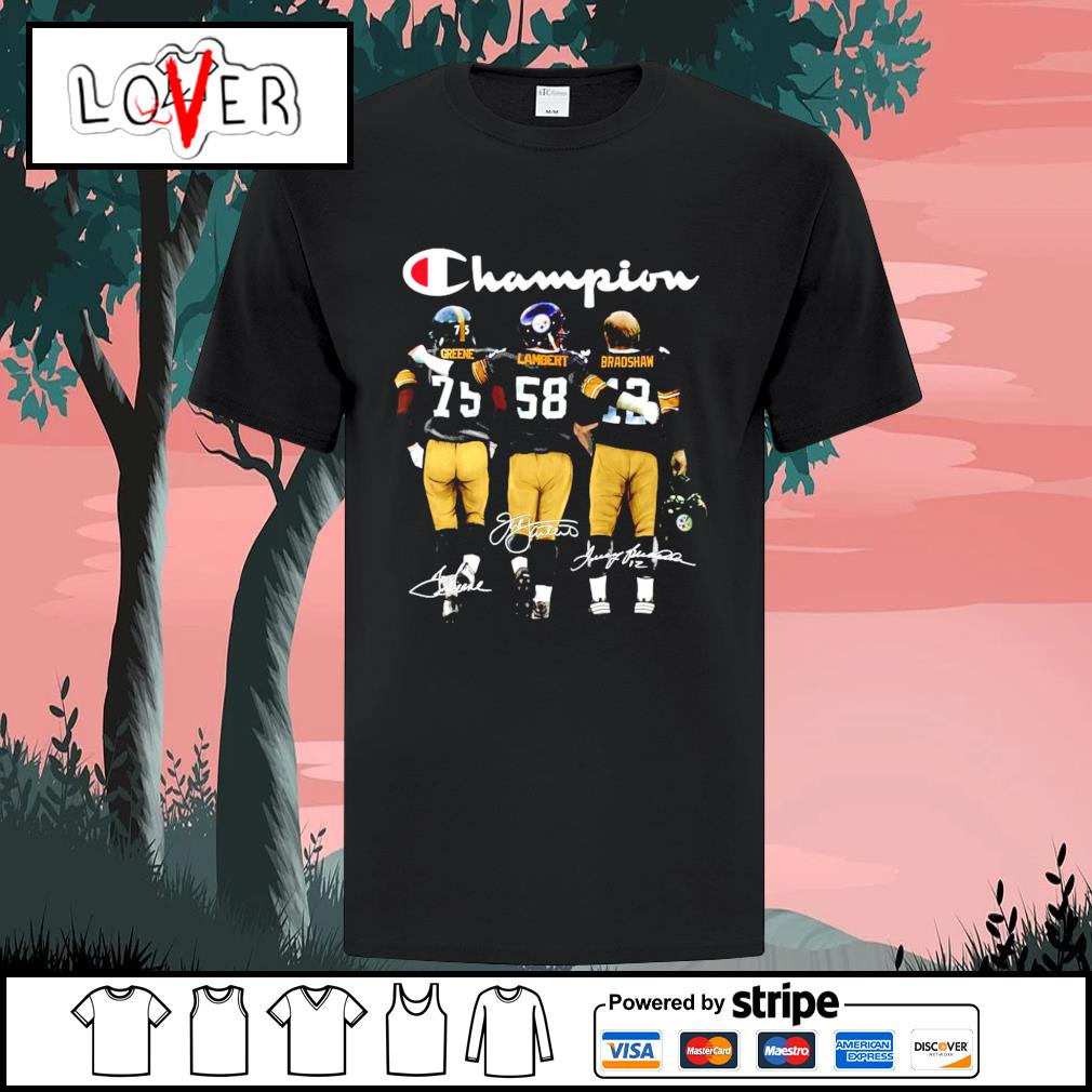 Joe Greene's Jack Lambert and Terry Bradshaw Pittsburgh Steelers champion signatures shirt