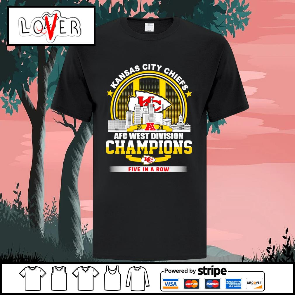 Kansas City Chiefs 2020 AFC west division champions five in a row shirt