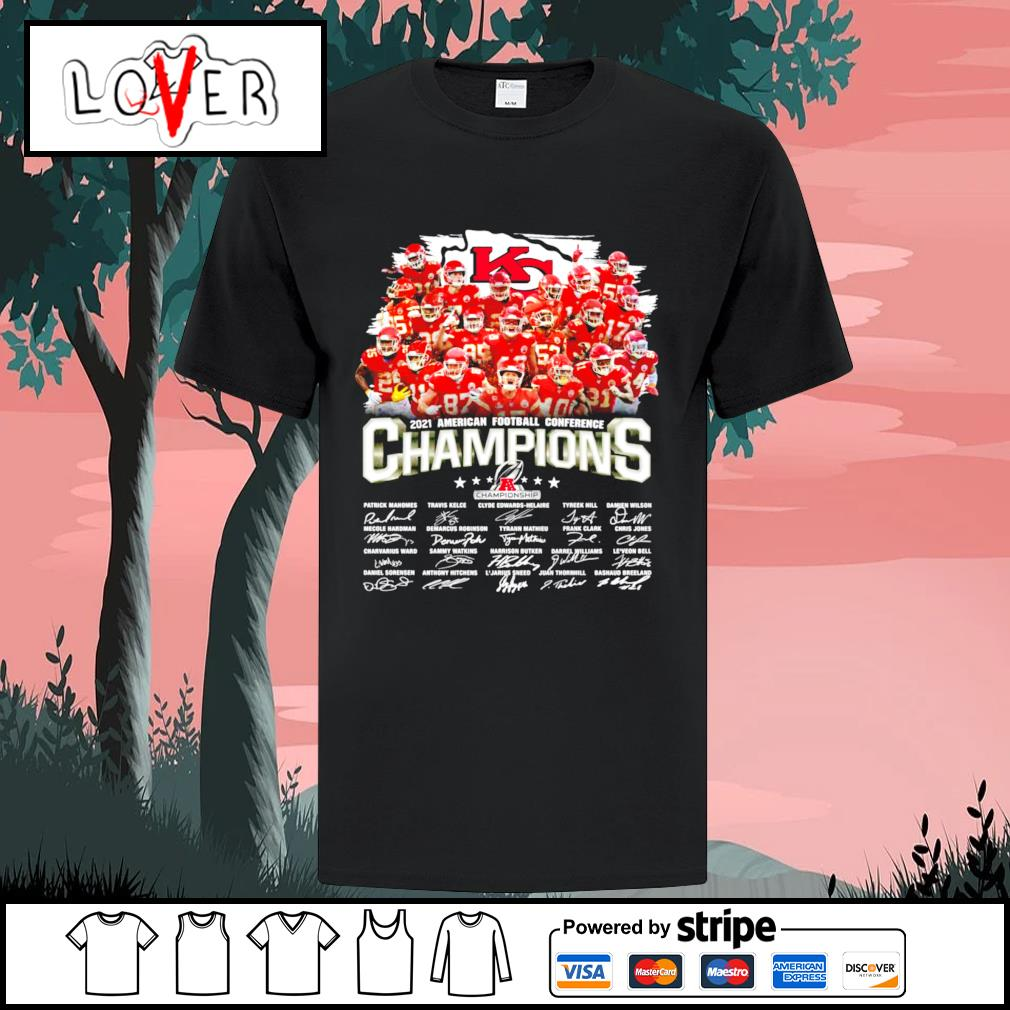 Kansas City Chiefs 2021 American football conference champions signatures shirt