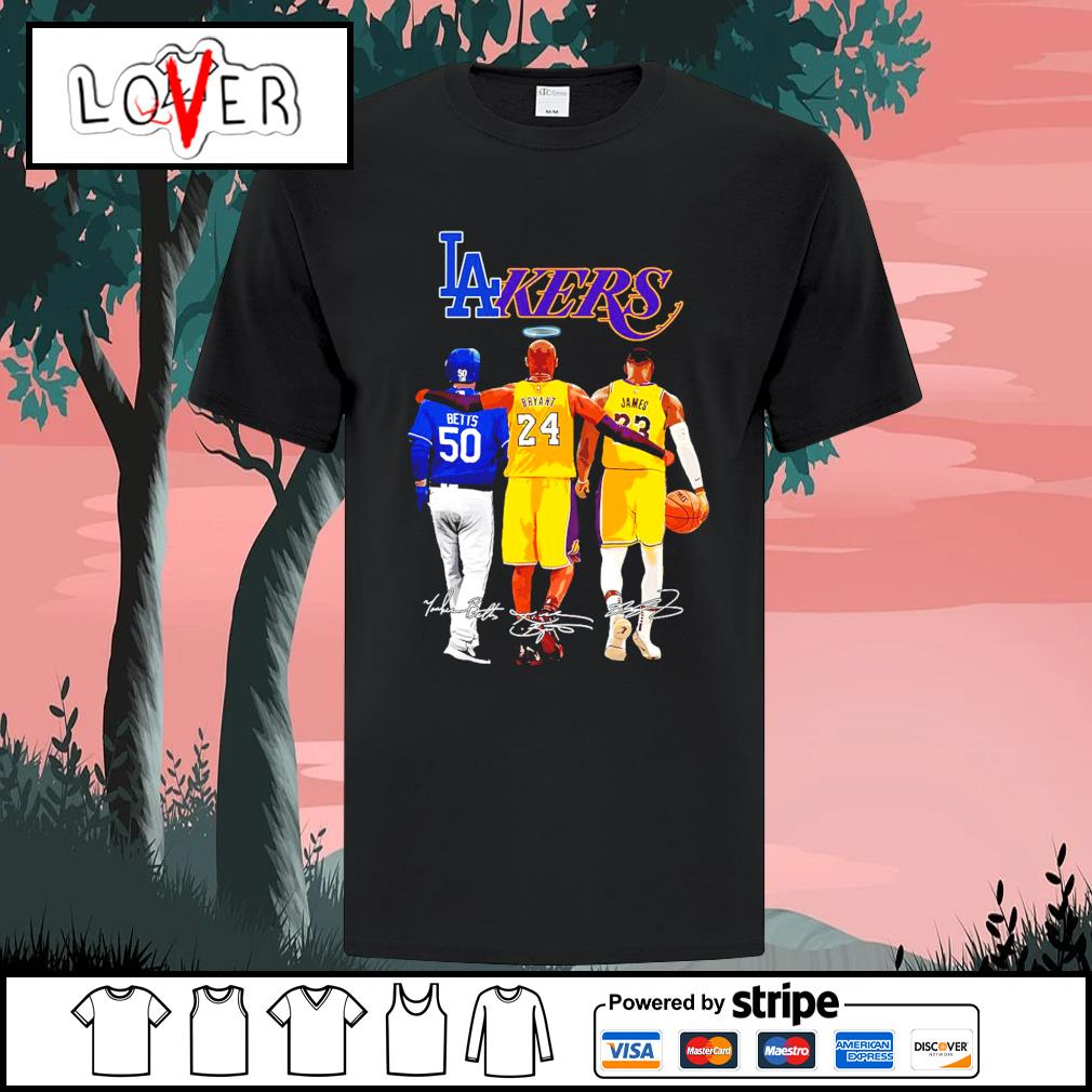 Los Angeles Dodgers and Los Angeles Lakers Mookie Betts Bryant and James signatures shirt