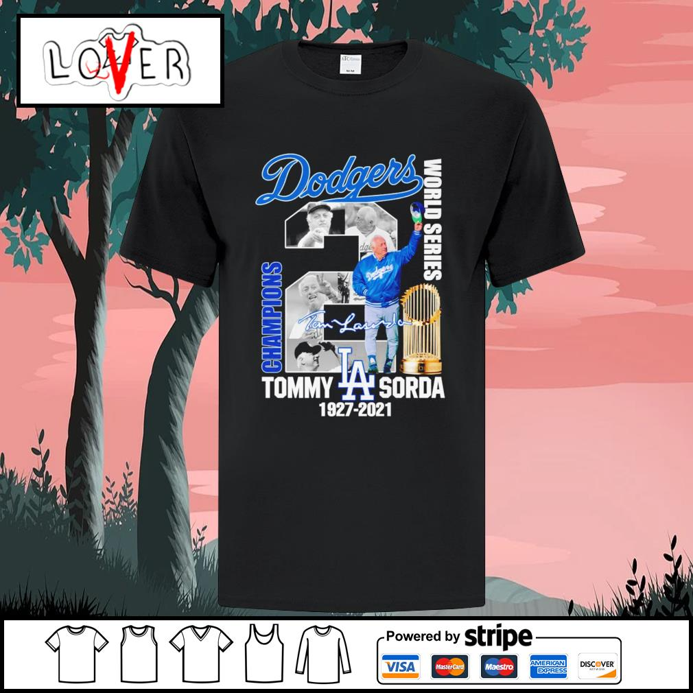 Los Angeles Dodgers Tommy Lasorda 1927 2021 world series champions signature shirt