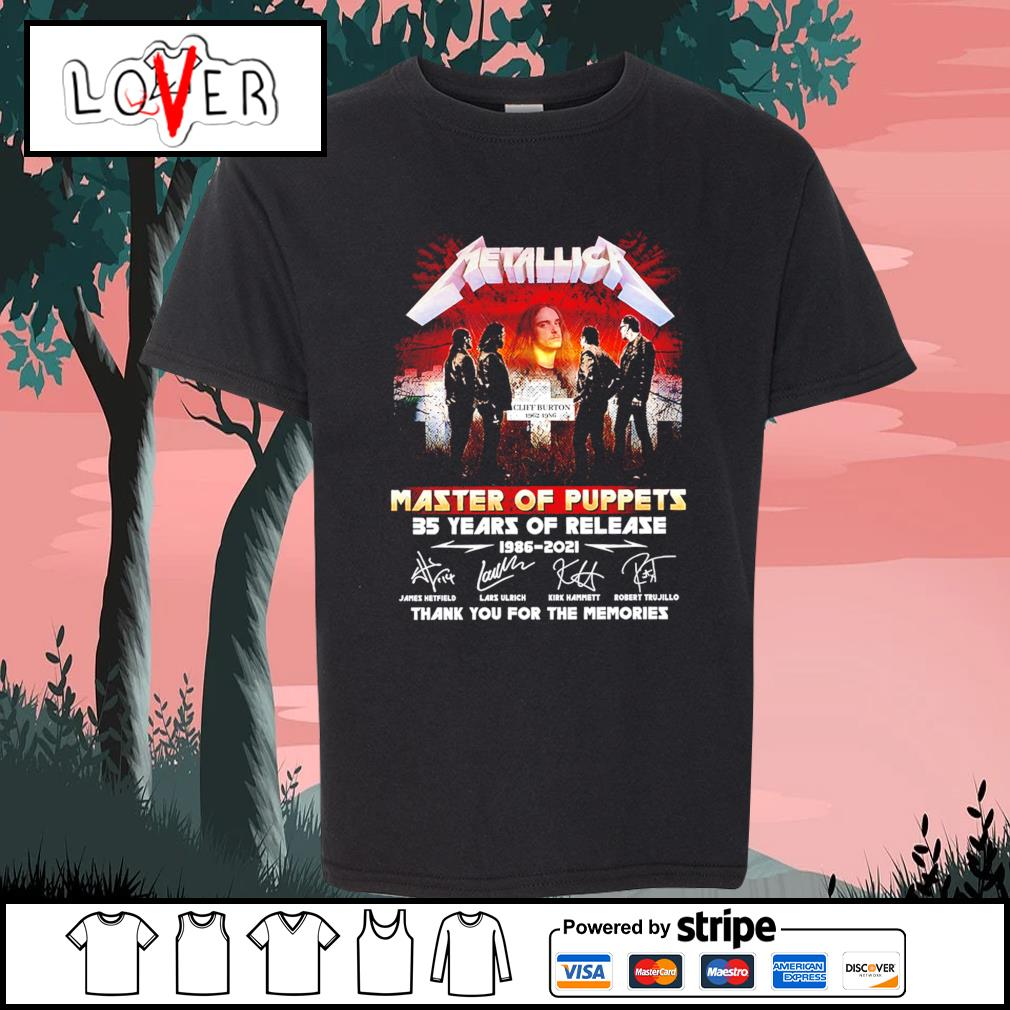 Metallica master of puppets 35 years of release 1986 2021 thank you for the memories signatures s Kid-T-shirt