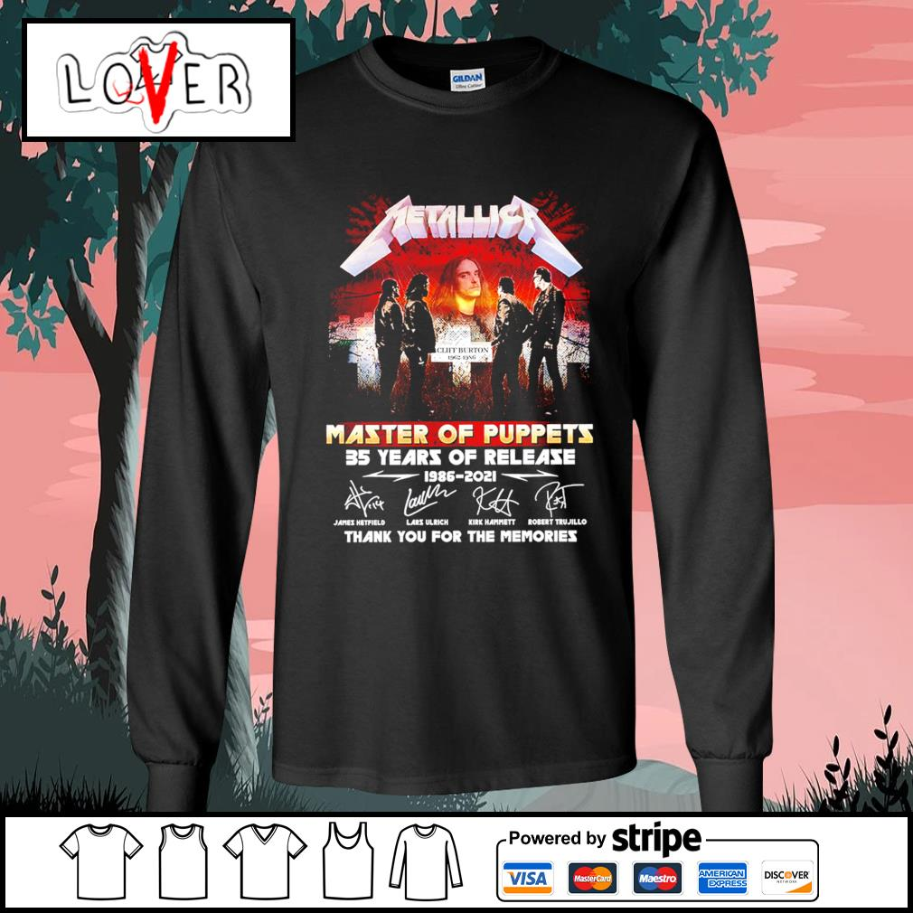 Metallica master of puppets 35 years of release 1986 2021 thank you for the memories signatures s Long-Sleeves-Tee